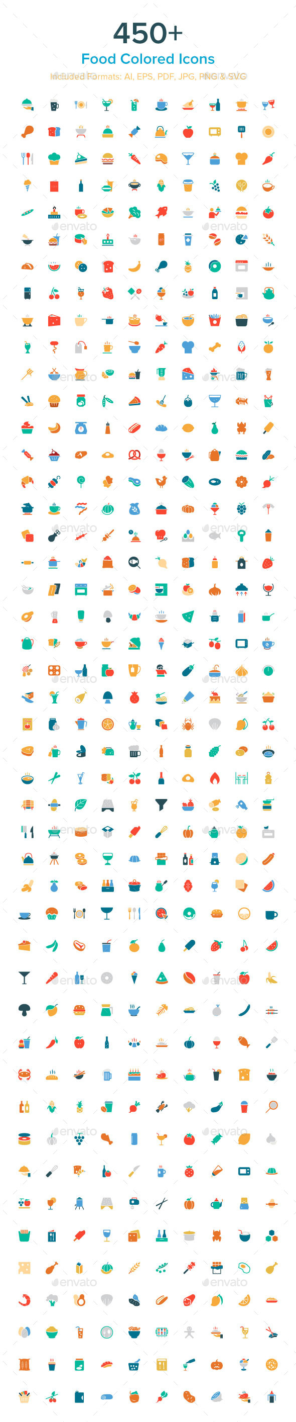 GraphicRiver 450& Food Colored Icons 10485610