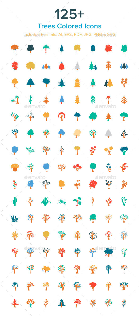 GraphicRiver 125& Trees Colored Icons 10485612