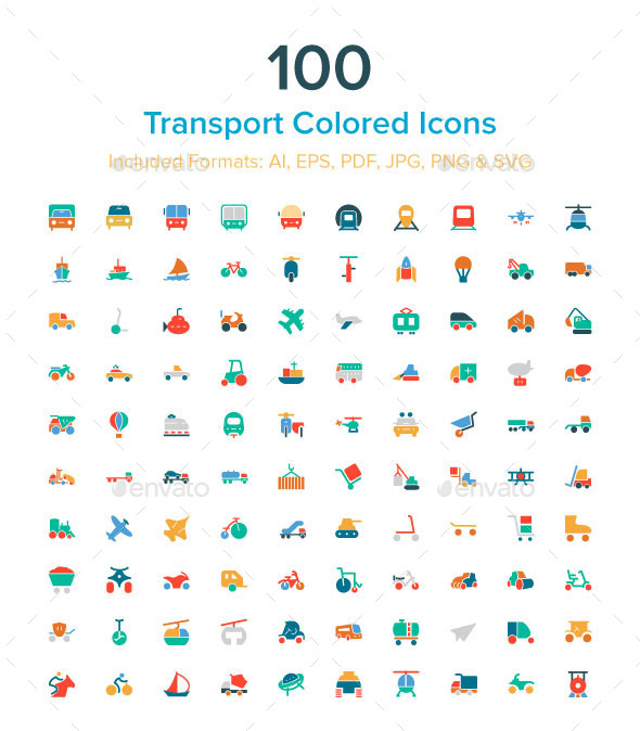GraphicRiver 100 Transport Colored Icons 10485617