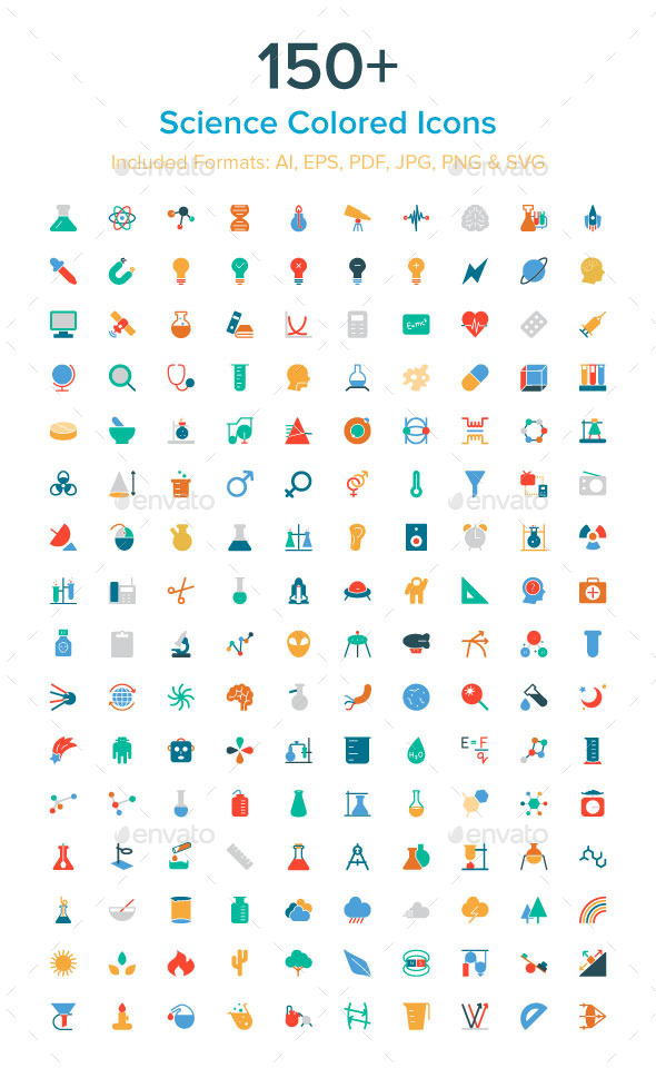 GraphicRiver 150& Science Colored Icons 10485621