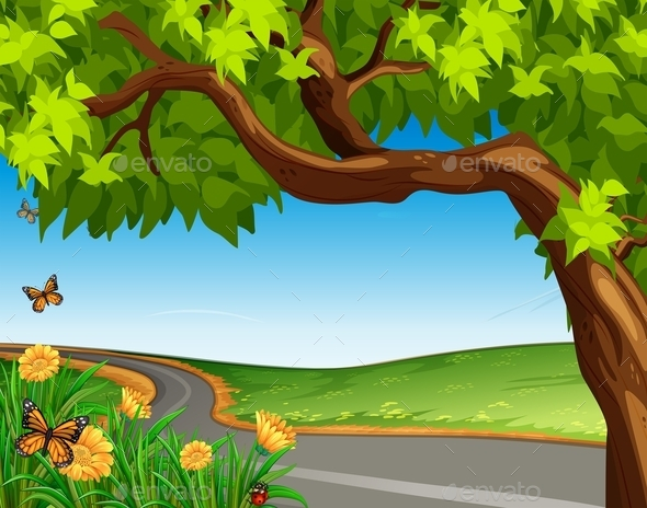 GraphicRiver Giant Tree at the Road 10485622