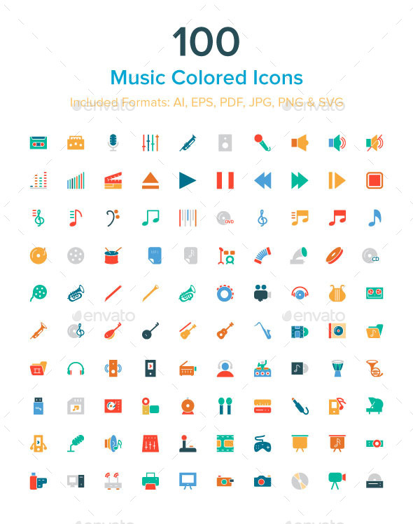 GraphicRiver 100 Music Colored Icons 10485625