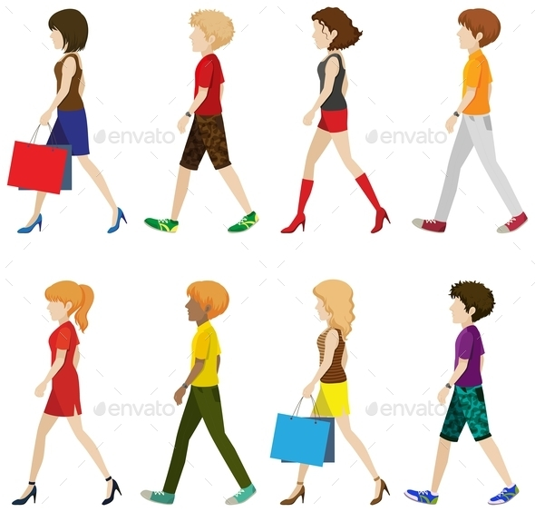 GraphicRiver Fashionable People Walking 10485628