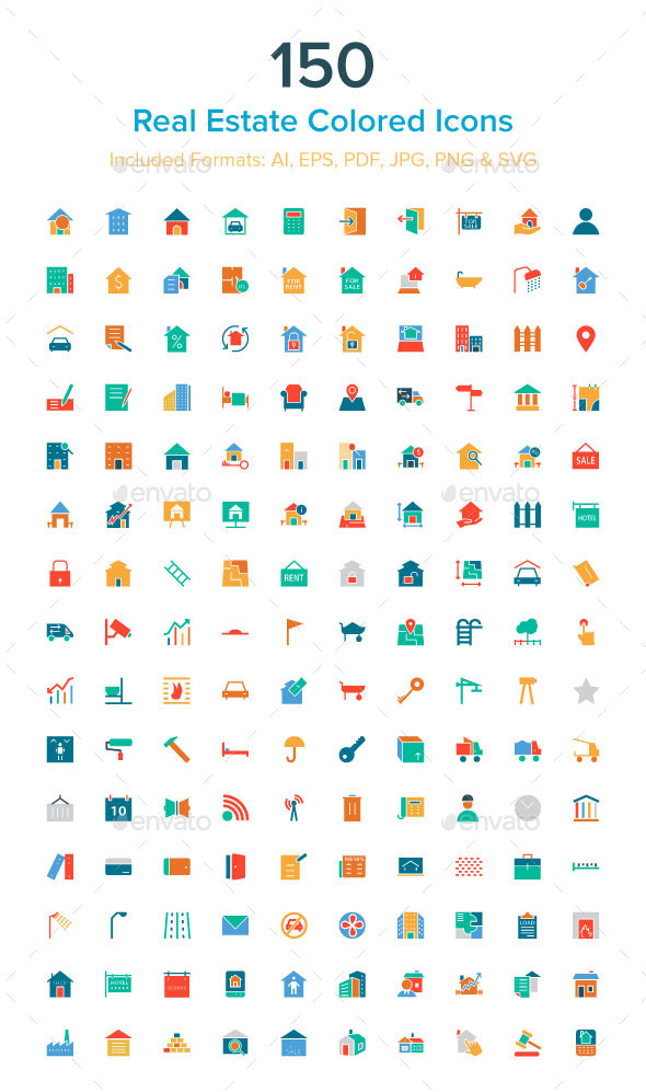 GraphicRiver 150 Real Estate Colored Icons 10485681