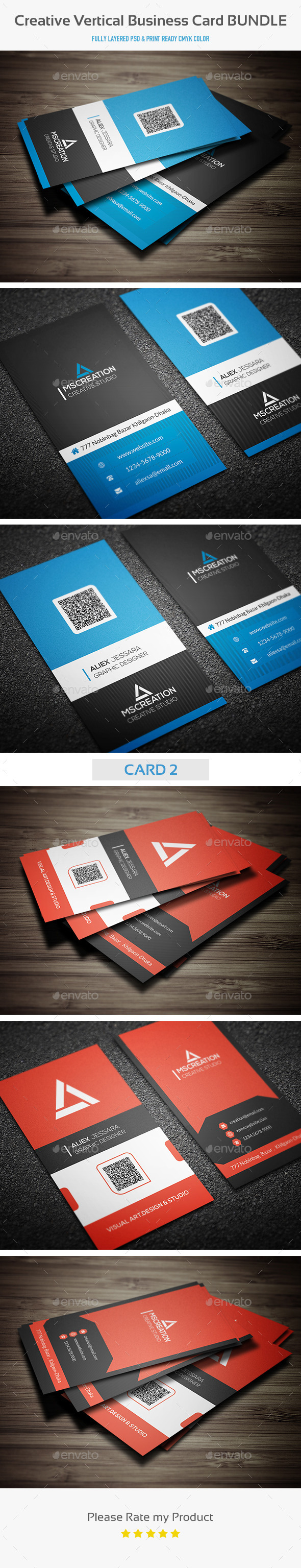 GraphicRiver Creative Vertical Business Card Bundle 10485683