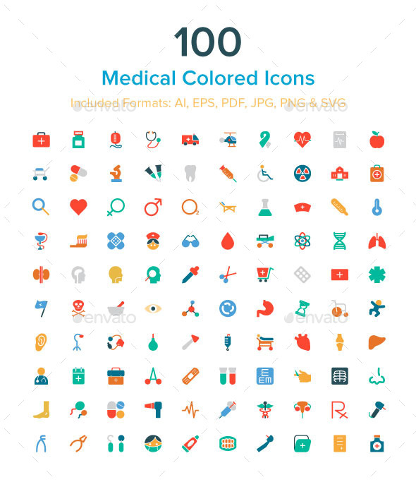 GraphicRiver 100 Medical Colored Icons 10485694