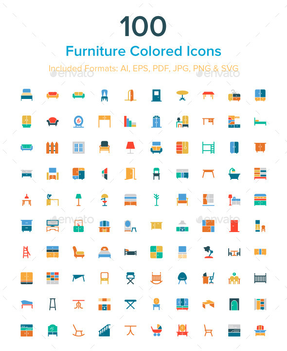 GraphicRiver 100 Furniture Colored Icons 10485712
