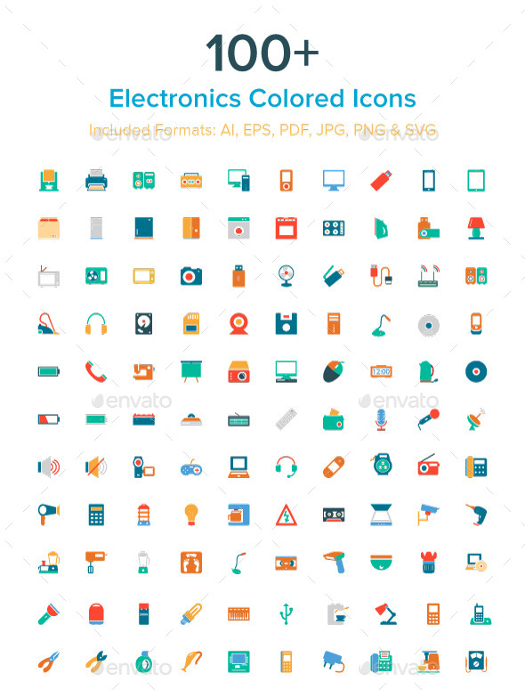 GraphicRiver 100& Electronics Colored Icons 10485728