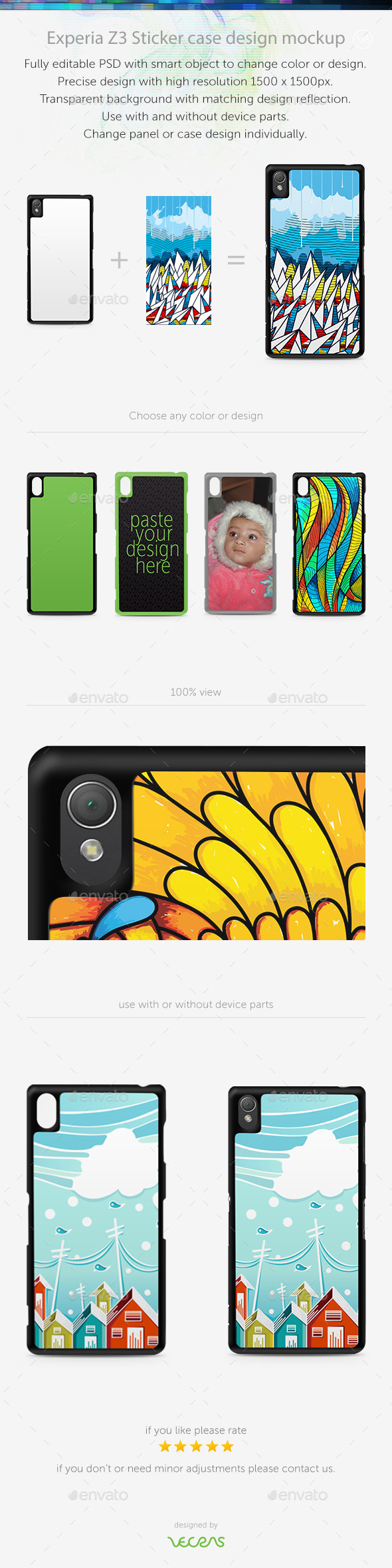GraphicRiver Experia Z3 Sticker Case Design Mockup 10485739