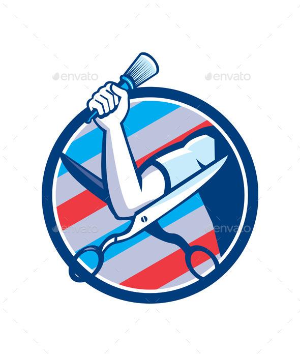GraphicRiver Barber Hand Brush Scissors Circle Retro 10486000