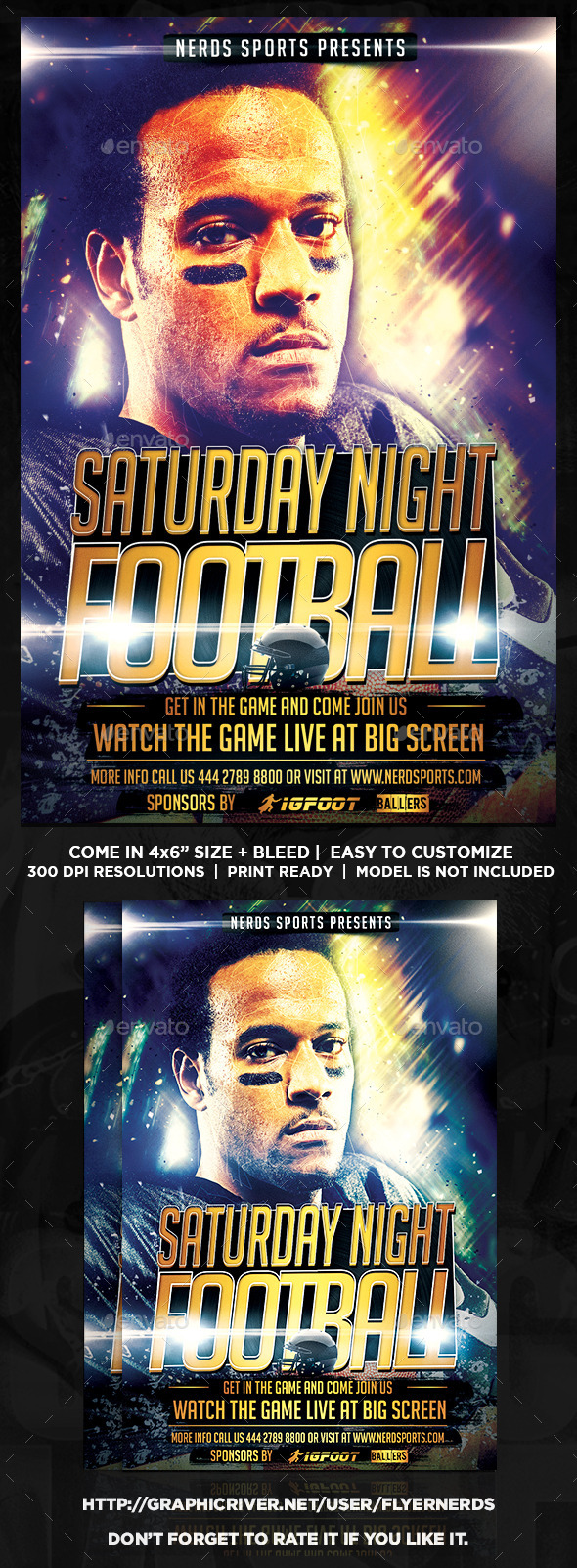 GraphicRiver Saturday Night Football Sports Flyer 10486007