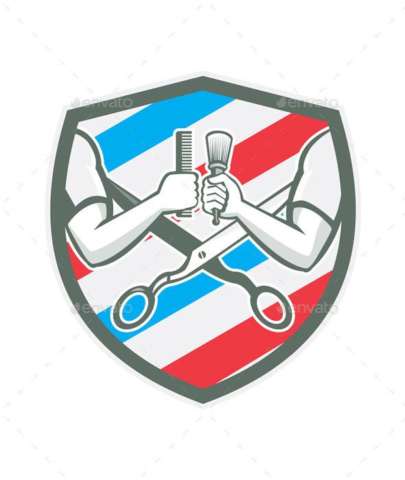 GraphicRiver Barber Hand Comb Brush Scissors Shield Retro 10486013