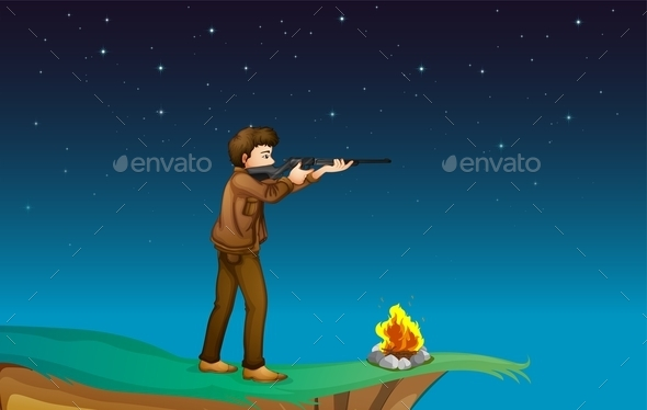 GraphicRiver Boy Camping with Gun 10486048