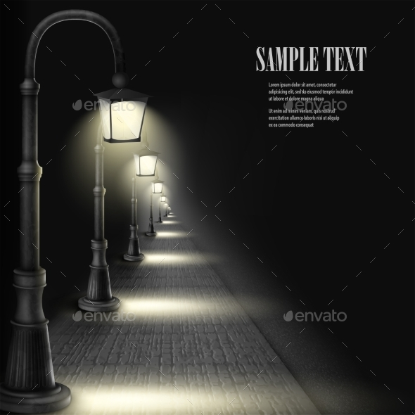 GraphicRiver Lamps Along Paving Block Street 10486149