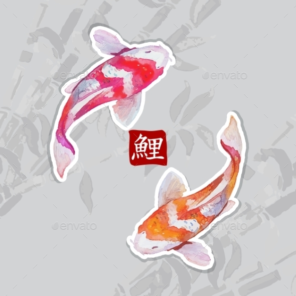 GraphicRiver Watercolor Carps Koi Swimming 10486348