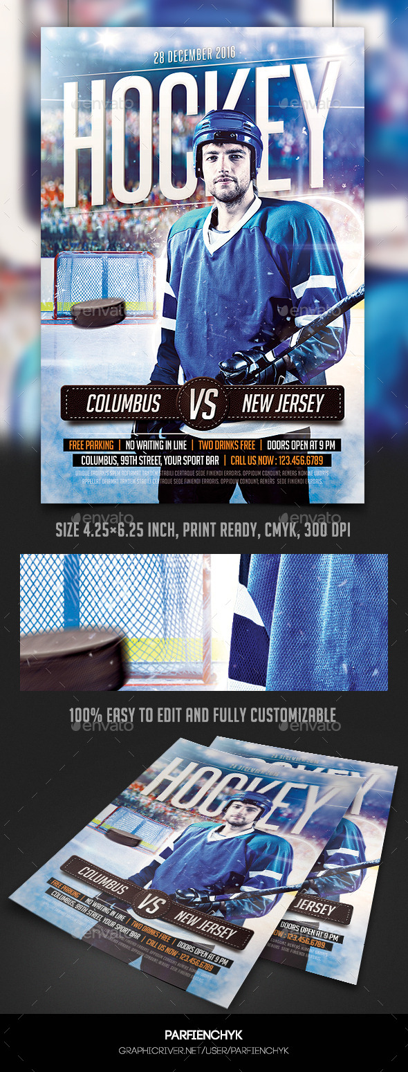 GraphicRiver Hockey Match Flyer Template 10486564