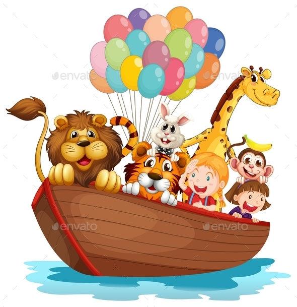 GraphicRiver Boat Full of Animals 10486797