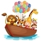 Boat Full of Animals  - GraphicRiver Item for Sale
