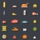 Food Icons Set Meat Fish Vegetables Drinks - GraphicRiver Item for Sale
