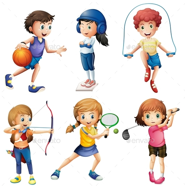GraphicRiver Kids Playing Sport 10487142