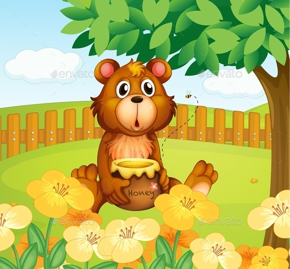GraphicRiver Bear with Honey 10487185