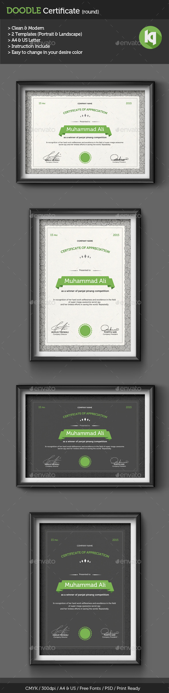 GraphicRiver Doodle Certificate Template round 10440766