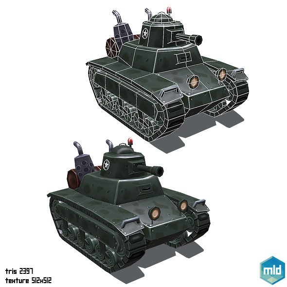 3DOcean Low Poly Cartoon Small Tank 10487395