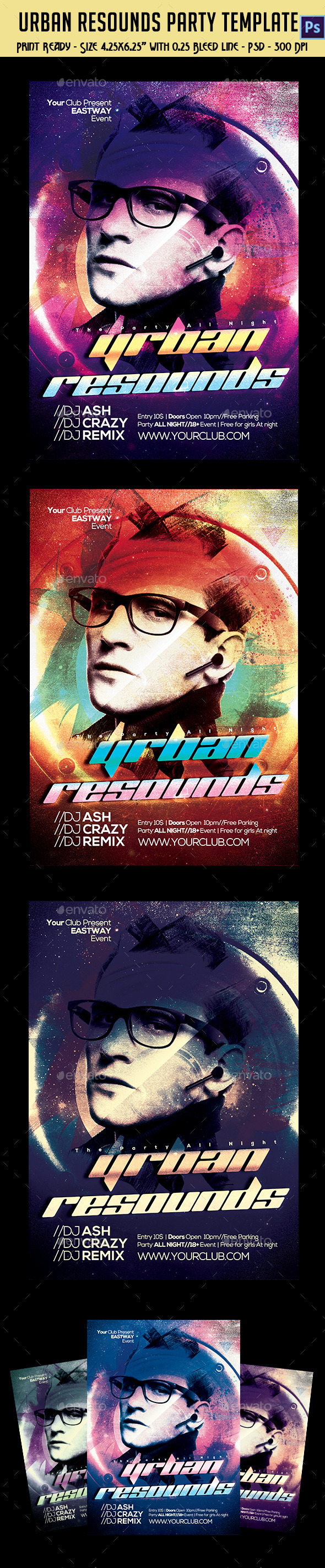 GraphicRiver Urban resound Party Flyer 10487396