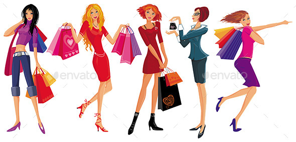 GraphicRiver Girls Shopping 10487510