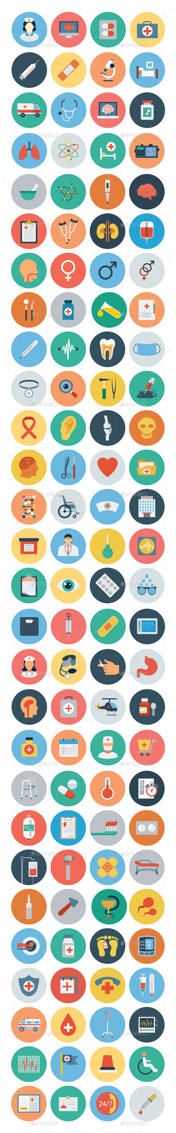 GraphicRiver 100& Medical Flat Icons 10487548