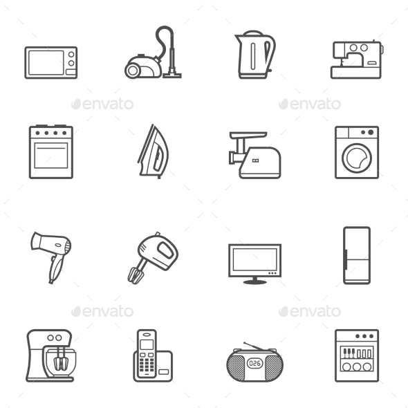 GraphicRiver Set of Home Appliances and Electronics Icons 10488024