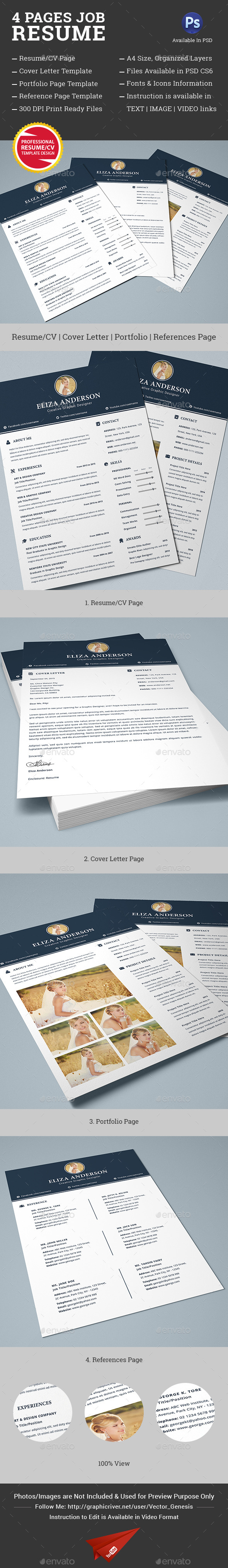 GraphicRiver 4 Pages Job Resume CV Set 10446098