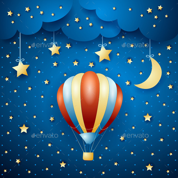 GraphicRiver Night Landscape with Hot Air Balloon 10488693