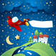 Night Landscape with Airplane, Banner and Road - GraphicRiver Item for Sale
