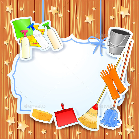 GraphicRiver Cleaning Background with Equipment and Label 10489009