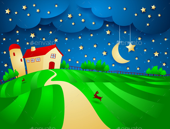 GraphicRiver Night Background with Farm 10489198