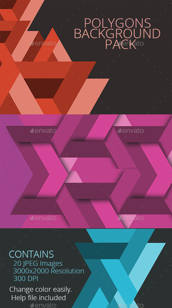 GraphicRiver Polygon backgrounds pack 10489302