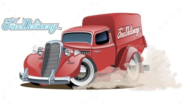 GraphicRiver Cartoon Retro Delivery Van 10489309