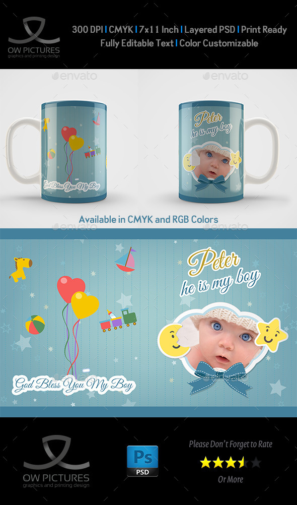 GraphicRiver New Boy Born Mug Art Design Template 10489319