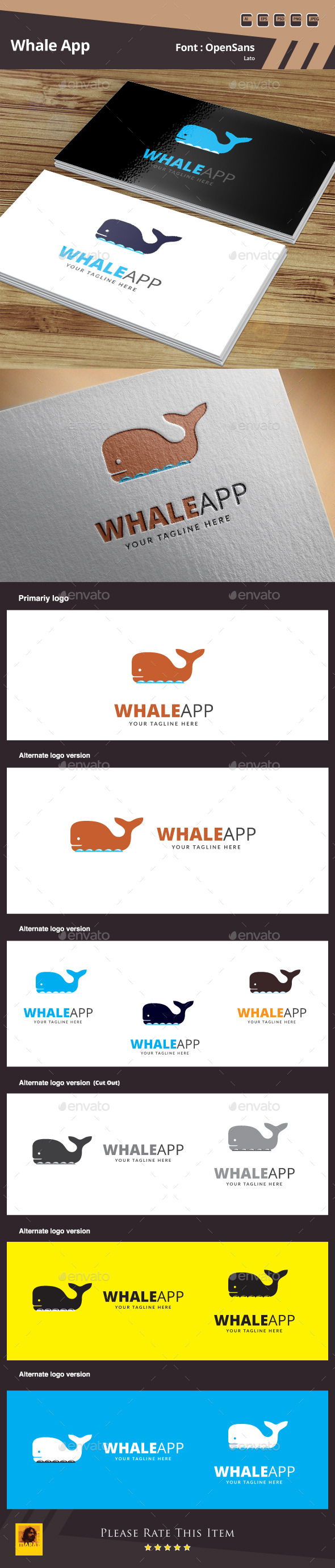 GraphicRiver Whale App Logo Template 10489336