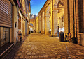 Narrow street in the old town at night in Italy - PhotoDune Item for Sale