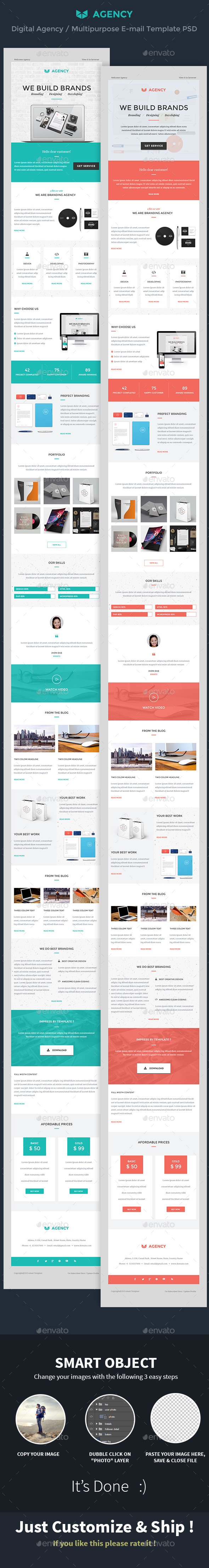 GraphicRiver Digital Agency Multipurpose E-mail Template PSD 10449921