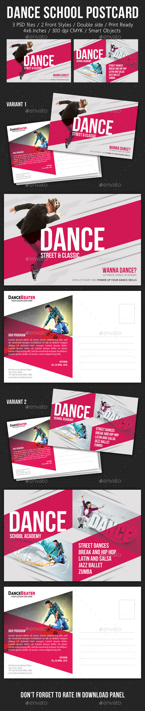 GraphicRiver Multiuse Street Dance Postcard V01 10489886
