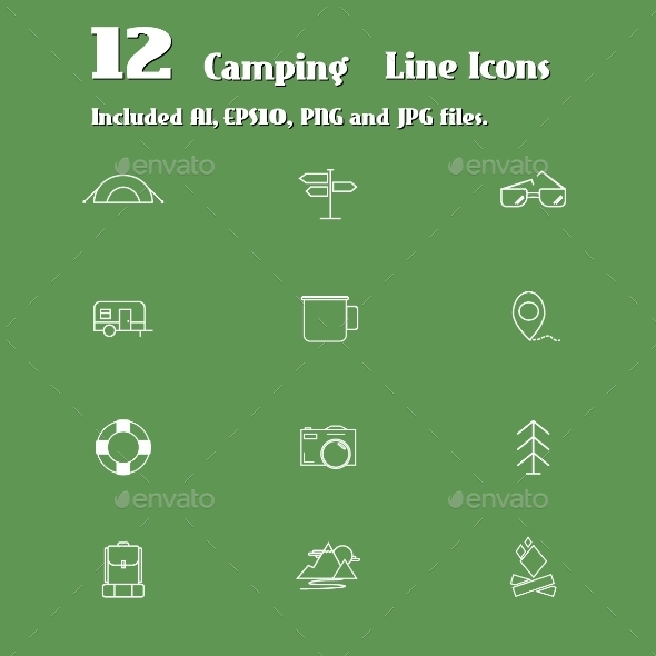GraphicRiver Camping Line Icons Set 10489898