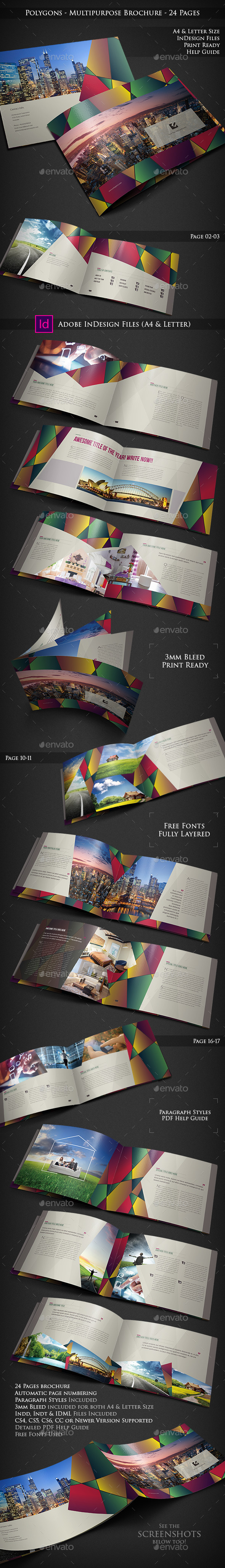 GraphicRiver Polygons Multipurpose Brochure 24 Pages 10490111