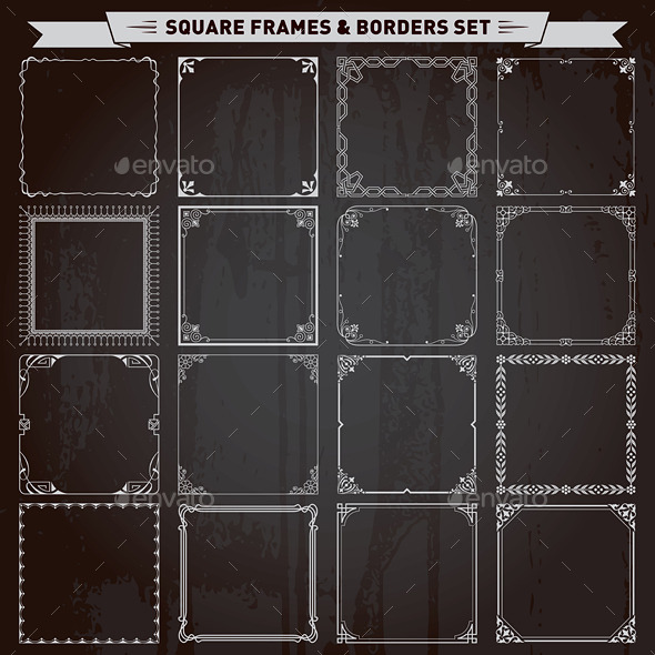 GraphicRiver Decorative Square Frames and Borders Set 10490233