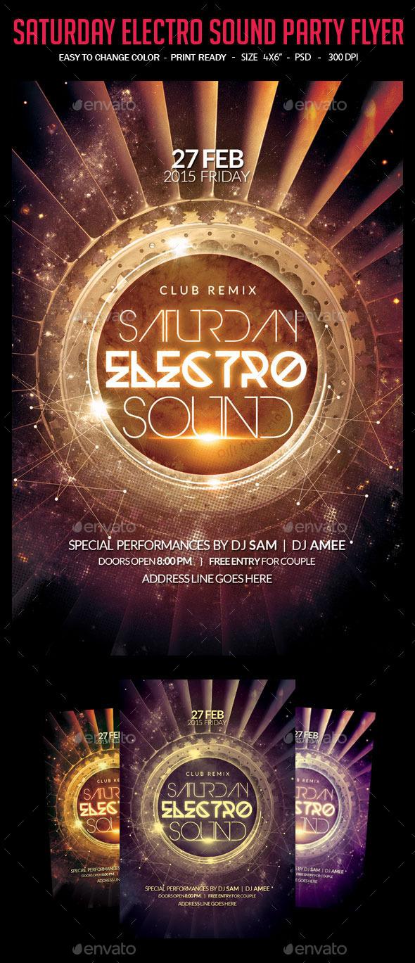 GraphicRiver Saturday Electro Sound Party Flyer 10443099