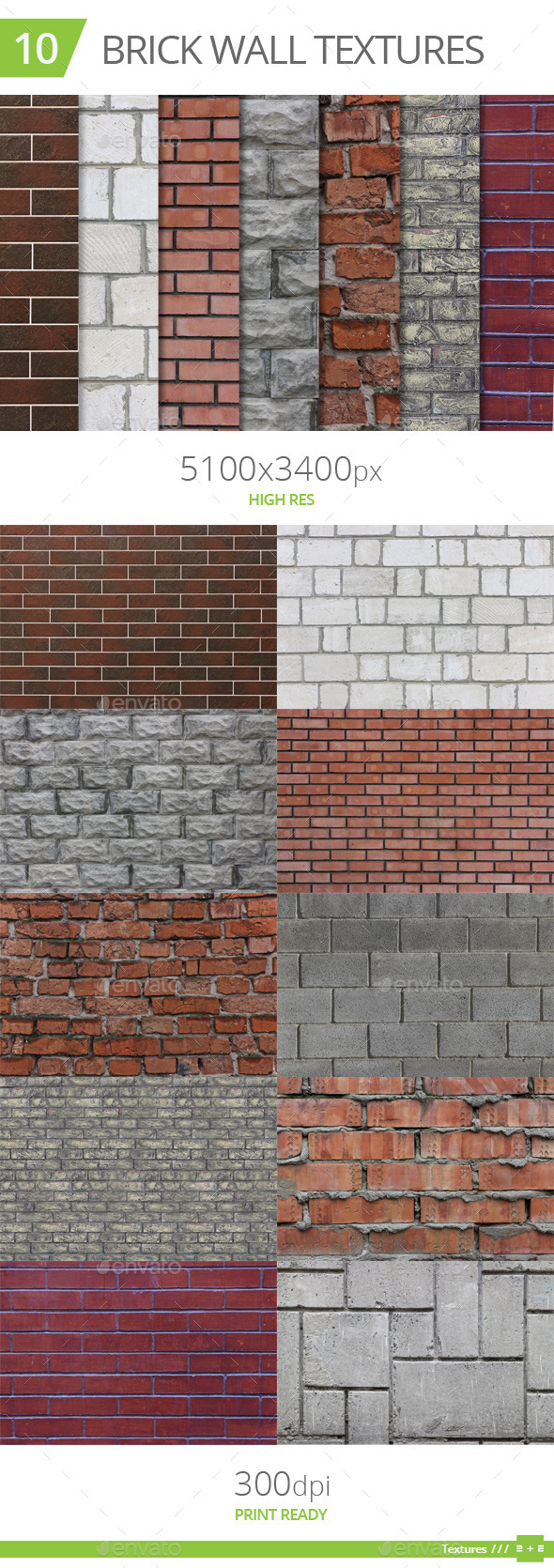 GraphicRiver 10 Brick Wall Textures 10490271