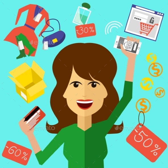 GraphicRiver Happy Woman Shopping 10490981