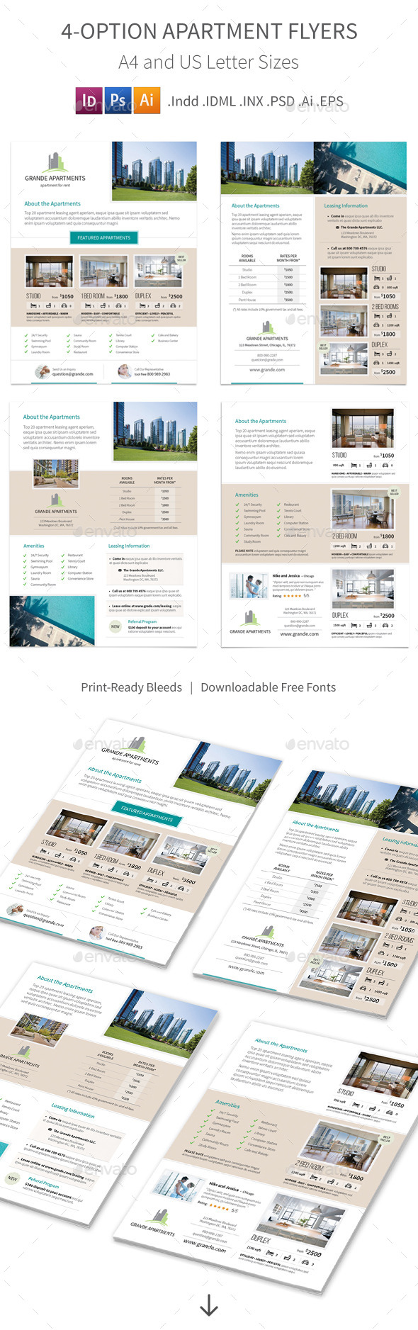 GraphicRiver Apartment Real Estate Flyers 4 Options 10491066